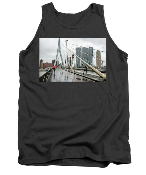 Tank Top featuring the photograph Over The Erasmus Bridge In Rotterdam With Red Umbrella by RicardMN Photography