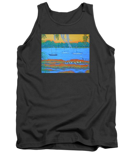 Tank Top featuring the painting Overnight In Beaufort by Dwain Ray