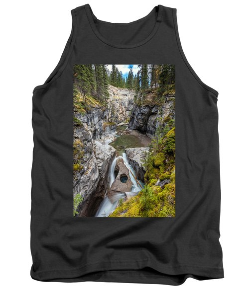 Tank Top featuring the photograph Owl Face Falls Of Maligne Canyon by Pierre Leclerc Photography