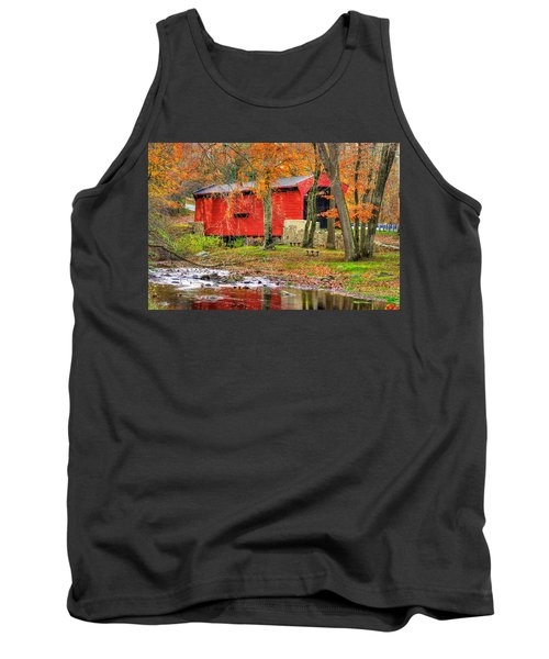 Pa Country Roads- Bartrams / Goshen Covered Bridge Over Crum Creek No.11 Chester / Delaware Counties Tank Top by Michael Mazaika