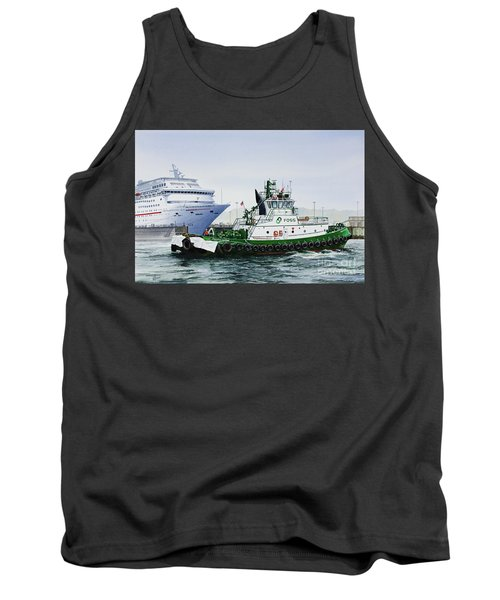 Tank Top featuring the painting Pacific Escort Cruise Ship Assist by James Williamson