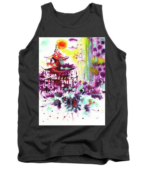 Tank Top featuring the painting Pagoda by Zaira Dzhaubaeva