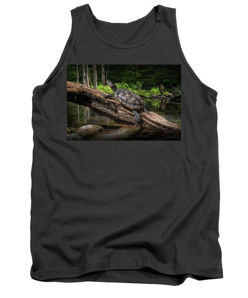 Painted Turtle Sitting On A Log Tank Top