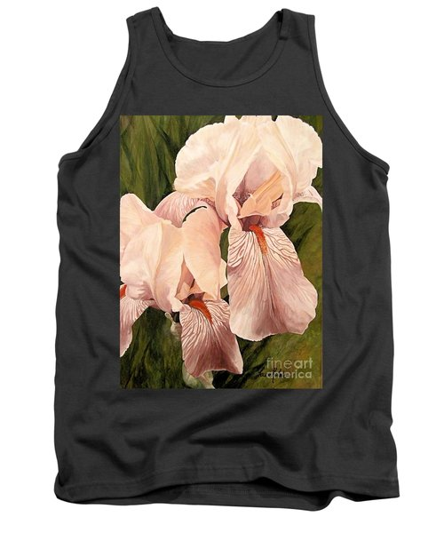 Tank Top featuring the painting Pair Of Peach Iris  by Laurie Rohner