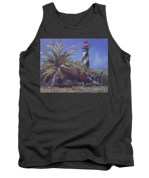 Palm By The Lighthouse Tank Top by Mary Hubley