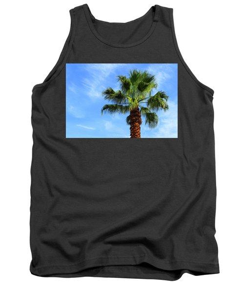 Palm Tree, Blue Sky, Wispy Clouds Tank Top