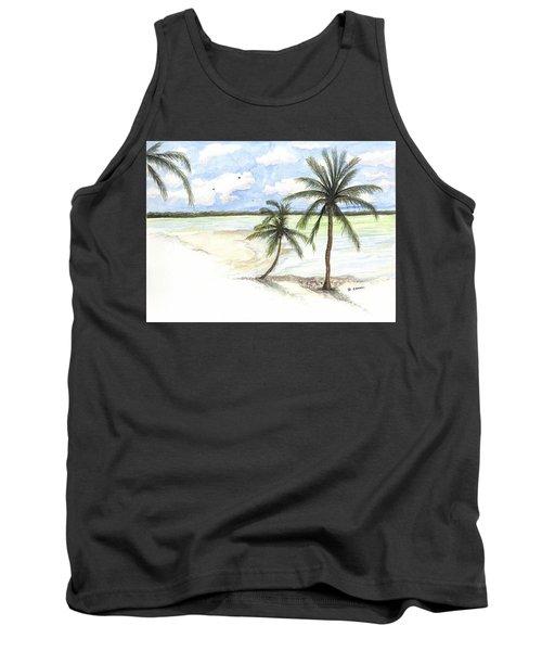 Palm Trees On The Beach Tank Top