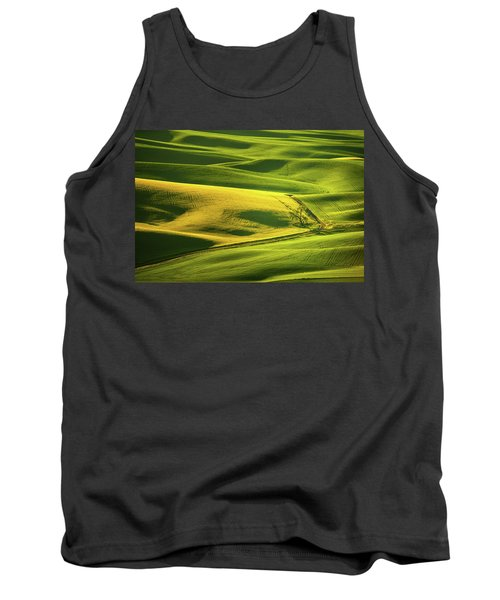 Tank Top featuring the photograph Palouse Shades Of Green by Dan Mihai