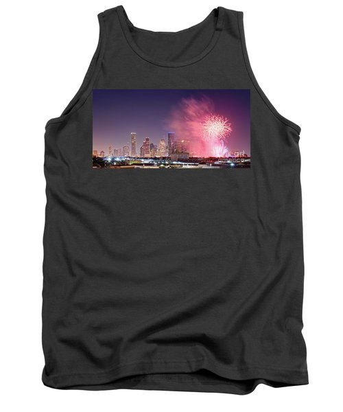 Panorama Of Downtown Houston Skyline Fireworks On The 4th Of July - Harris County Texas Tank Top