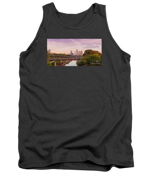 Panorama Of Downtown Houston Skyline From Studemont Drive - Buffalo Bayou Park Houston Texas Tank Top