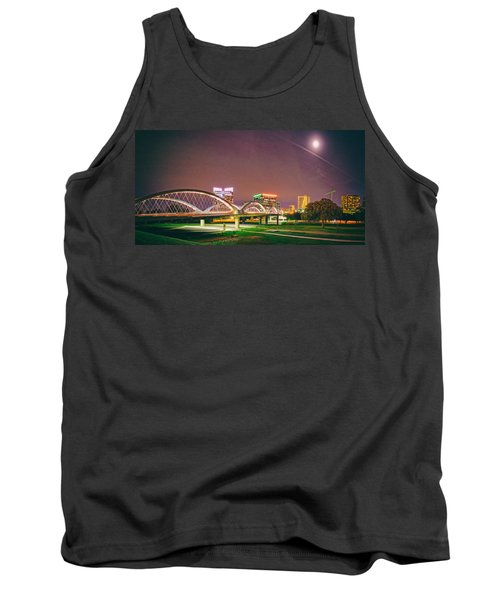 Panorama Of The Seventh Street Bridge And Downtown Fort Worth With Full Moon Above - Trinity River Tank Top