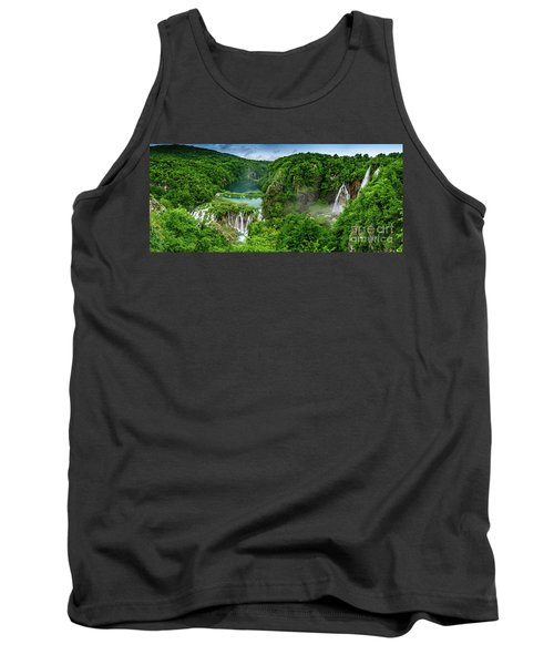 Panorama Of Turquoise Lakes And Waterfalls - A Dramatic View, Plitivice Lakes National Park Croatia Tank Top