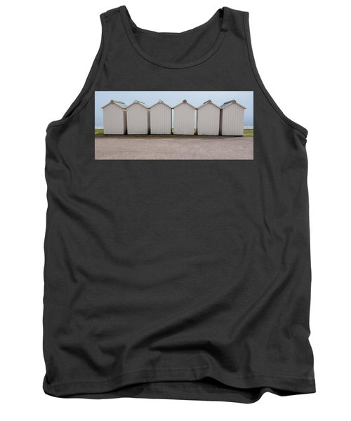 Panoramic Beach Huts Tank Top by Helen Northcott