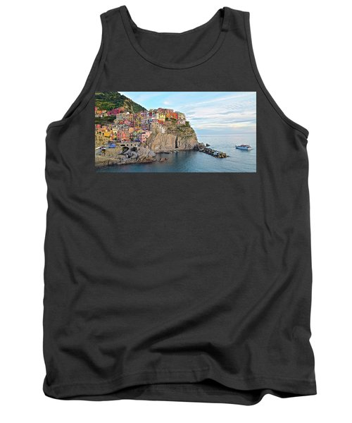Tank Top featuring the photograph Panoramic Manarola Seascape by Frozen in Time Fine Art Photography