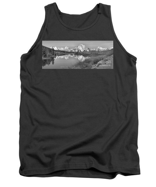 Panoramic Reflections At Oxbow Black And White Tank Top by Adam Jewell