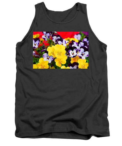 Pansies And Red Cart Tank Top