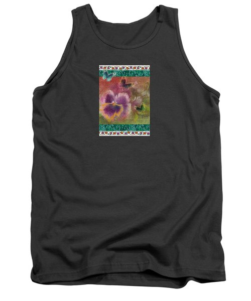 Tank Top featuring the painting Pansy Butterfly Asianesque Border by Judith Cheng