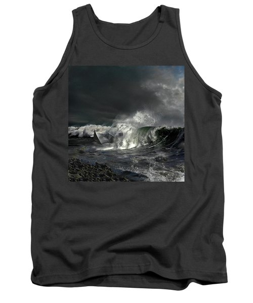 Tank Top featuring the digital art Paper Boat by Evgeniy Lankin