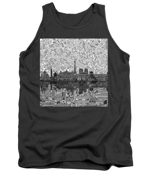 Tank Top featuring the painting Paris Skyline Black And White by Bekim Art