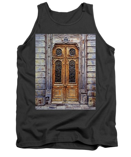 Tank Top featuring the painting Parisian Door No. 15 by Joey Agbayani