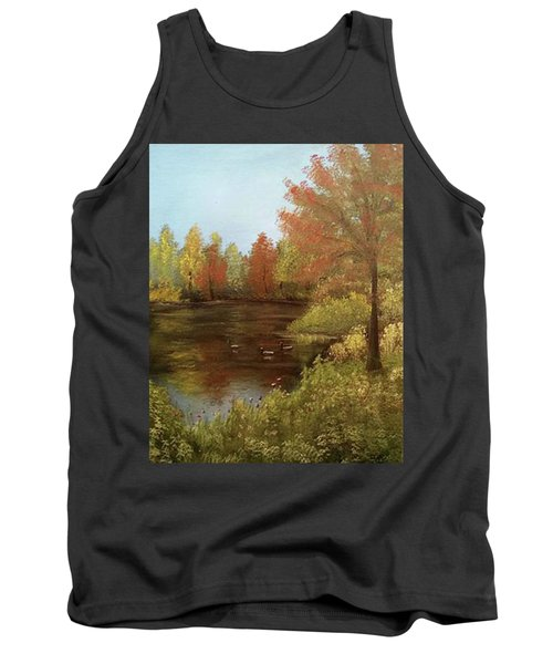 Park In Autumn Tank Top by Angela Stout