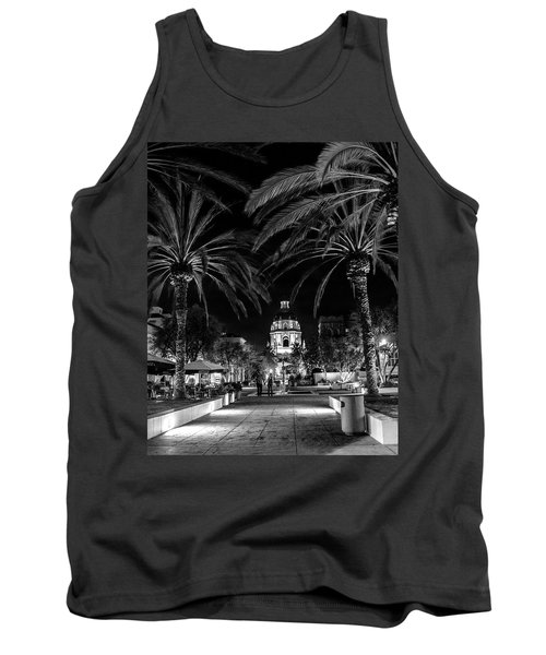 Tank Top featuring the photograph Pasadena City Hall After Dark In Black And White by Randall Nyhof
