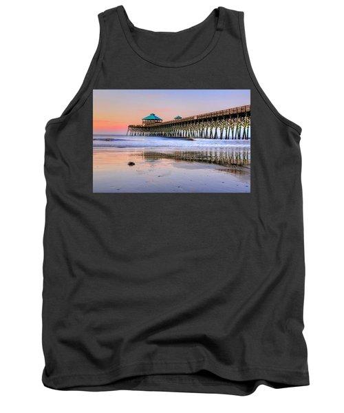 Pastel Sunrise On Folly Beach Pier In Charleston South Carolina Tank Top