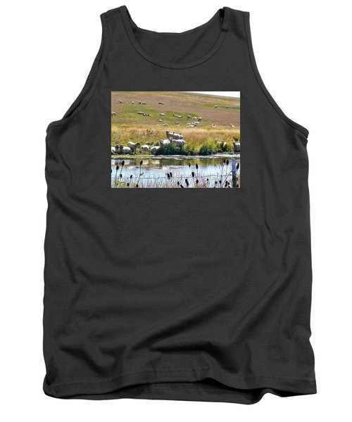 Pastoral Sheep By Pond Tank Top