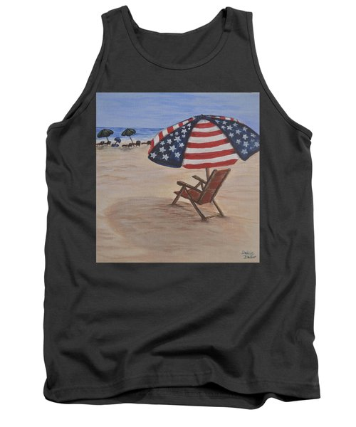 Tank Top featuring the painting Patriotic Umbrella by Debbie Baker
