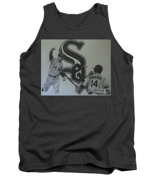Tank Top featuring the drawing Paul Konerko Collage by Melissa Goodrich