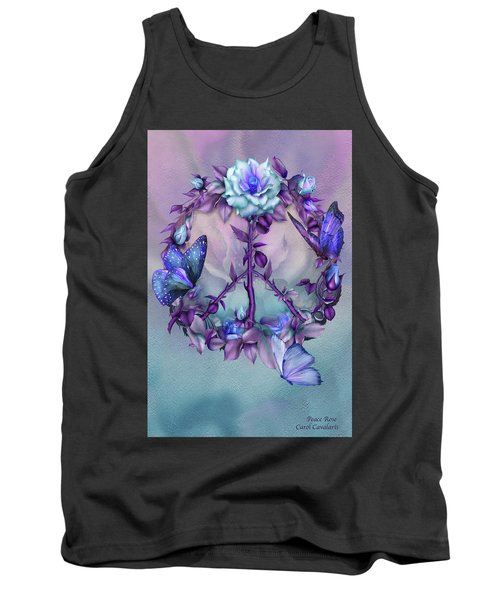 Tank Top featuring the mixed media Peace Rose - Blue by Carol Cavalaris