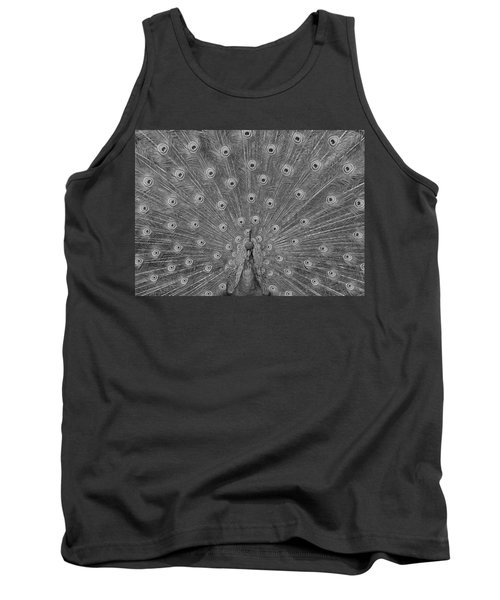 Tank Top featuring the photograph Peacock Fanfare - Black And White by Diane Alexander
