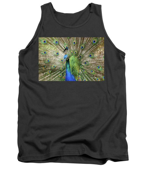 Tank Top featuring the photograph Peacock Indian Blue by Sharon Mau