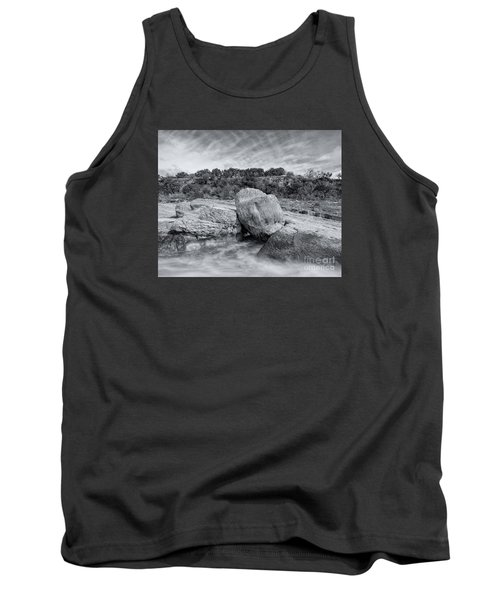 Pedernales River Falls In Black And White - Texas Hill Country Tank Top