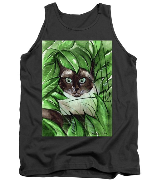 Tank Top featuring the painting Peek A Boo Siamese Cat by Dora Hathazi Mendes