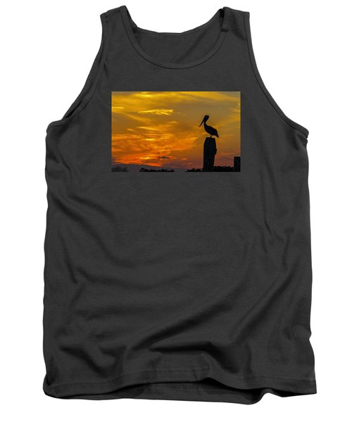 Pelican At Silver Lake Sunset Ocracoke Island Tank Top by Greg Reed