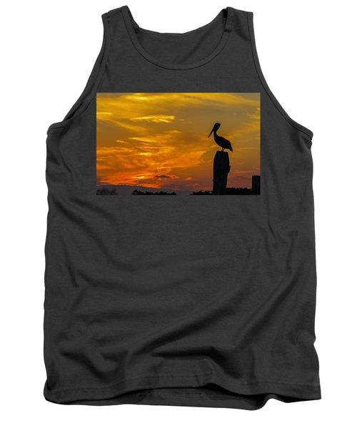 Pelican At Silver Lake Sunset Ocracoke Island Tank Top