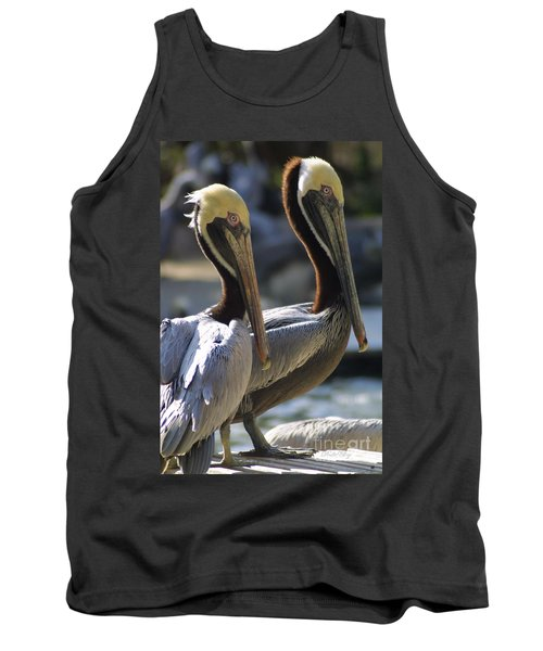 Tank Top featuring the photograph Pelican Duo by Dodie Ulery