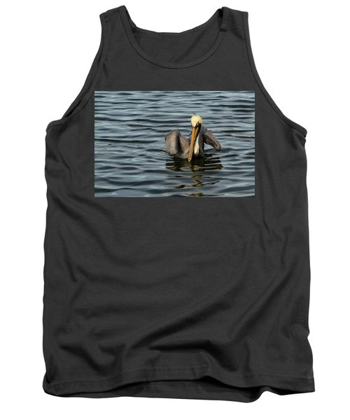 Tank Top featuring the photograph Pelican Wing In A  Twist by Jean Noren