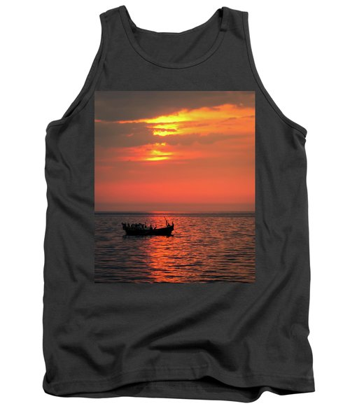 Pelicans At Sunset Tank Top