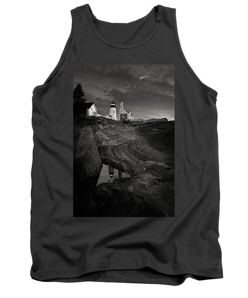Pemaquid Lighthouse At Dawn Black And White Tank Top