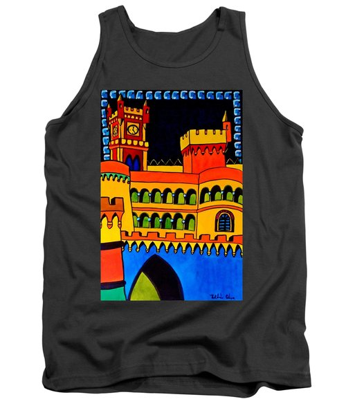 Tank Top featuring the painting Pena Palace Portugal by Dora Hathazi Mendes