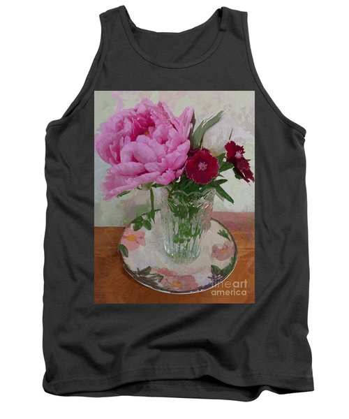 Tank Top featuring the digital art Peonies With Sweet Williams by Alexis Rotella