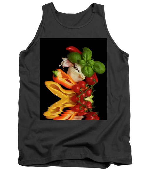 Tank Top featuring the photograph Peppers Basil Tomatoes Garlic by David French