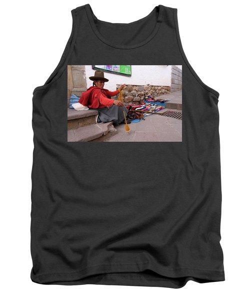 Tank Top featuring the photograph Peruvian Weaver by Aidan Moran
