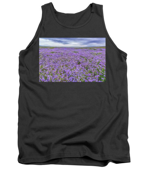 Phacelia Field And Clouds Tank Top