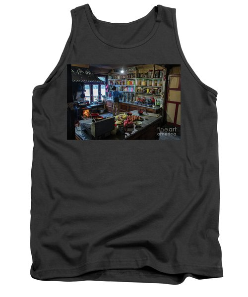 Tank Top featuring the photograph Phakding Teahouse Kitchen Morning by Mike Reid