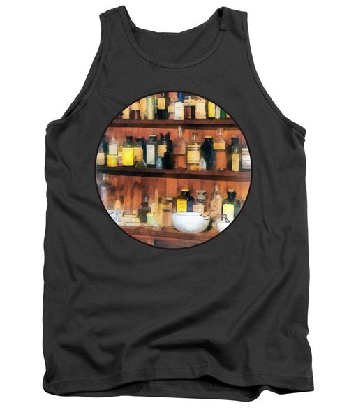Tank Top featuring the photograph Pharmacist - Mortar Pestles And Medicine Bottles by Susan Savad