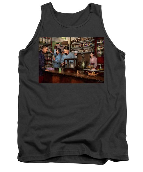 Tank Top featuring the photograph Pharmacy - The Dispensing Chemist 1918 by Mike Savad