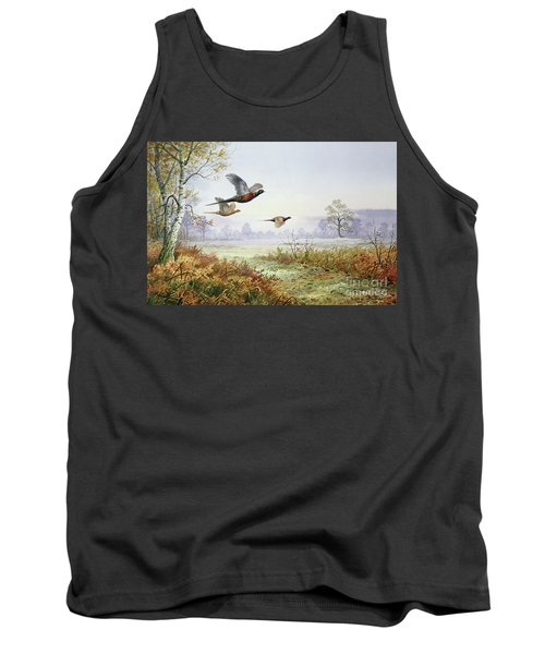 Pheasants In Flight  Tank Top by Carl Donner